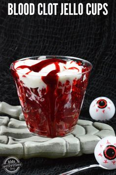 These Blood Clot Jello Cups are tasty but creepy at the same time. Kids are going to loose their cool over these!