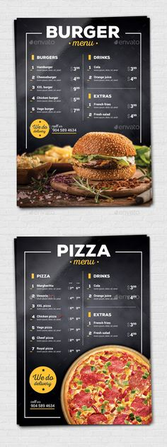 Burger / Pizza Flyer by Modern 297210 mm) fast food menu flyer. Excelent for your pizza restaurant.print ready CMYK, 300 dpi 3 mm bleed free fonts us Burger Restaurant, Menu Burger, Restaurant Menu Design, Restaurant Ideas, Burger Salad, Restaurant Identity, Restaurant Menu Template, Fast Food Restaurant, Pizza Menu Design