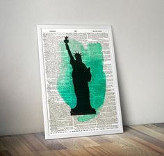 Watercolor America poster Statue of Liberty art by MoltenPrints