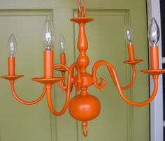 Orange shenwa chandelier home decor pinterest orange orange chandelier by dandyshandy on etsy 7200 mozeypictures Images