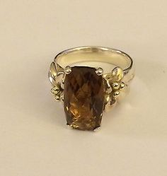 Ann King Sterling Silver 18k  Cinnamon Quartz Ring   Size 10  7.00 Carats - http://designerjewelrygalleria.com/ann-king/ann-king-sterling-silver-18k-cinnamon-quartz-ring-size-10-7-00-carats-2/