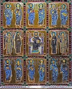 """Detail from the cover In the center Christ in majesty, flanked by his mother Mary with Archangel Michael (right) and John Baptist with Archangel Gabriel,  above and below the twelve apostles.  """"Reliquary of the True Cross"""" or Staurothek  Constantinople Byzantine, c. 960 CE gold, gems, cloisonné enamel polychrome h: 48 cm from Limburg a.d. Lahn; Diözesanmuseum  or Dom-Museum, Domschatz   high resolution photo"""