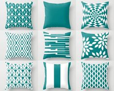 Items similar to Outdoor Pillows, Teal White Pillows, Outdoor Home Decor, Outdoor Throw Pillows on Etsy Teal Pillow Covers, Teal Pillows, Pillow Cover Design, White Pillows, Sofa Pillows, Outdoor Throw Pillows, Pillow Cases, Cover Pillow, Cushions