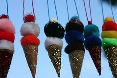 ($12.00) A set of 8 Ice Cream Cone pom pom ornaments.
