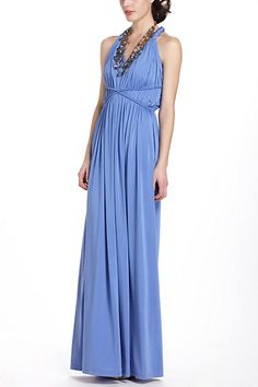 I like the grecian neckline, but would change the back to allow a bra.  Padma Maxi Dress #anthropologie