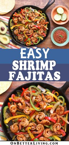 Looking for a quick, and totally healthy dinner bursting with flavors? Then give these Easy Shrimp Fajitas a … Fish Recipes, Seafood Recipes, Mexican Food Recipes, Mexican Dishes, Dinner Recipes, Cooking Recipes, Healthy Recipes, Shrimp Dishes, Shrimp Pasta
