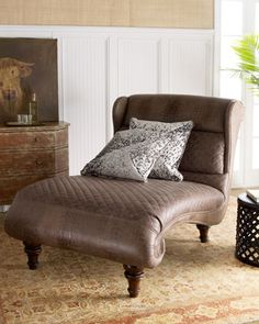 """""""Dixon"""" Wing Chaise by Old Hickory Tannery at Horchow."""