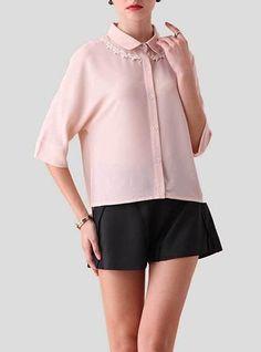 Womens Shirt - Lace Stitching / Pink / White