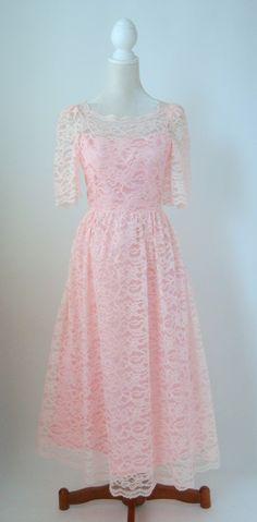Vintage Pink Lace Dress, 1980s Retro Dress, Small to Medium