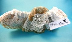 Burlap Garter with Ivory Lace