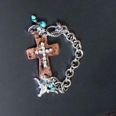 Cowgirl  Gypsy Copper CROSS Rhinestones BRACELET Western Rustic Hammered Metal #CRAVE #Chain