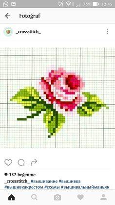 Cross Stitch Rose, Cross Stitch Flowers, Cross Stitch Patterns, Manta Crochet, Cross Stitching, Pixel Art, Red Roses, Needlework, Girly
