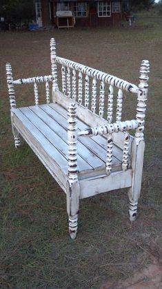 Vintage Headboard Bench in Distressed Cream-Ready for Pick-up Refurbished Furniture, Repurposed Furniture, Furniture Makeover, Painted Furniture, Furniture Projects, Wood Projects, Diy Furniture, Headboard Benches, Benches From Headboards