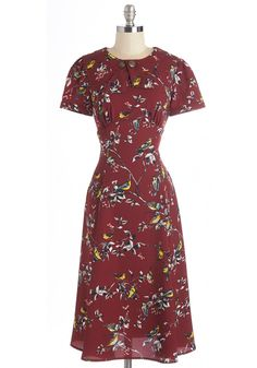 Believe It or Dot Dress in Songbirds. All of your fashion fantasies come true with this bird-printed dress! #red #modcloth