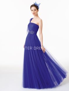 $108.99-Sexy Sheath Beaded Sleeveless One-Shoulder Tulle Blue Evening Gown. http://www.ucenterdress.com/floor-length-sheath-beaded-sleeveless-one-shoulder-tulle-prom-dress-pMK_300769.html.  Shop for affordable evening gowns, prom dresses, white dresses, party dresses for women, little black dresses, long dresses, casual dresses, designer dresses, occasion dresses, formal gowns, cocktail dresses . We have great 2016 Evening Gowns on sale now. #evening #gowns