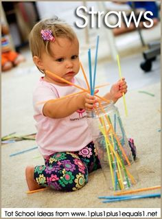 Tot School Ideas ~ Straws and Containers