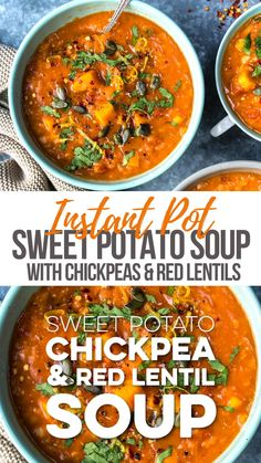This hearty and delicious Sweet Potato, Chickpea and Red Lentil Soup ticks all the boxes: healthy, vegan, gluten free an Healthy Soup Recipes, Vegan Dinner Recipes, Indian Food Recipes, Whole Food Recipes, Vegetarian Recipes, Chili Recipes, Crockpot Vegan Meals, Instapot Vegan Recipes, Slimming World Soup Recipes