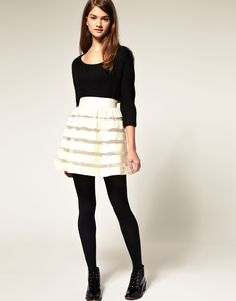 ASOS Full Skirt in Velvet and Mesh Stripe