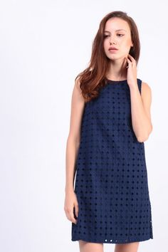 Embroidered Eyelet Shift Dress (Navy) S$ 42.00