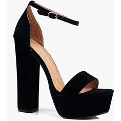 Boohoo Clara Skyscraper Platform Two Part (€47) ❤ liked on Polyvore featuring shoes, sandals, heels, high heels, black, black heeled sandals, black block heel sandals, black sandals, high heeled footwear and high heel shoes