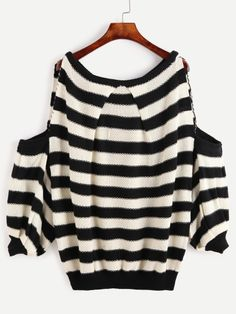 Black And White Striped Cold Shoulder Lantern Sleeve Sweater