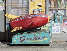 Space Patrol kiddie ride in miniature (by Randy Hage) Retro Toys, Vintage Toys, Retro Vintage, Antique Toys, Vintage Stuff, Rocket Ride, Rocket Power, Retro Rocket, Arte Robot