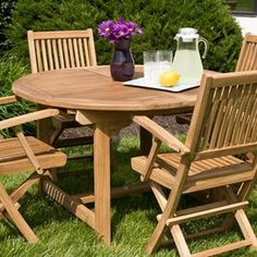Teak Expandable Round Table with Hideaway Insert