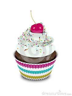 3d sweet cupcake with sprinkles  on white background