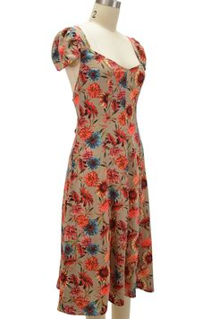 forties u.s.o. pinup feminine floral day dress