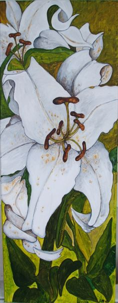 Lilies in acrylic Acrylic Paintings, Lilies, Plant Leaves, Watercolor, Drawings, Plants, Art, Pastel, Pen And Wash