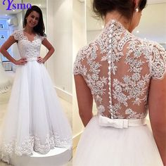 Find More Wedding Dresses Information about Ysmo Lace Illusion Back Wedding Dresses with Cap Sleeve 2016 V Neck A Line Vestidos De Novia White Applique Vintage Bridal Gowns,High Quality wedding dress pictures designer wedding dresses,China wedding dress empire waist Suppliers, Cheap wedding dress with sleaves from Ysmo Weddings on Aliexpress.com
