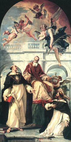 Santo Tomás de Aquino, San Pío V y San Pedro Mártir 1730 -- Sebastiano Ricci, Sta Maria del Rosario, Venecia