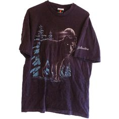 1990 Vintage Wolf Yellowstone T-shirt Under Moon in Forrest (530 UAH) ❤ liked on Polyvore featuring tops, t-shirts, shirts, tee's, vintage shirts, flat top, vintage tees, men shirts e purple t shirt