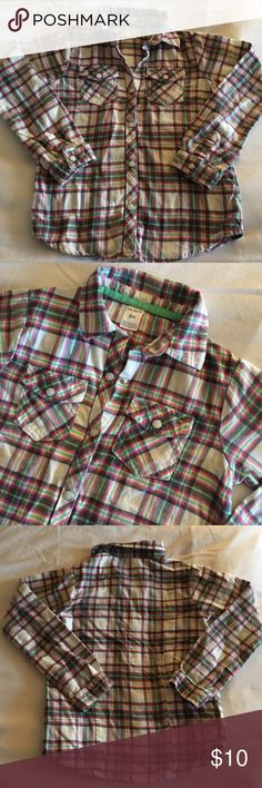NWOT Girl's Carter's Flannel Button Down Shirt (New). No tag. Size: 6x. Button down flannel shirt. 100% cotton. Colors: Mix of white/pink/light green/gray. Super cute. Smoke/pet free. Sorry for wrinkles. Items been in storage tub. Ships out as is. I ship same day/next day. Carter's Shirts & Tops Button Down Shirts