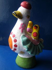 Dymkovo toys - Wikipedia, the free encyclopedia Folk Art, Dinosaur Stuffed Animal, Dolls, Christmas Ornaments, Holiday Decor, Free, Animals, Popular Crafts, Color Combos