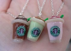 Starbucks Strawberry Smoothie, Green Tea Latte, Frappucino Necklace by SimplyEncharming    For Gail!