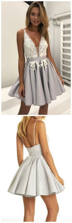 Elegant A-Line Deep V-Neck Backless Short Homecoming Dress With Lace