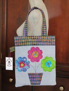 Recycled Denim and Batik Flower Applique Tote Bag by StaceyKokot, $65.00