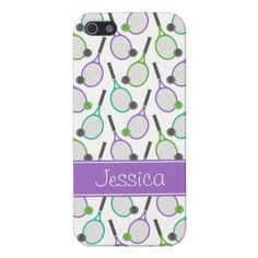 Preppy Purple Green Teal Tennis Personalized Case For iPhone 5 by printcreekstudio