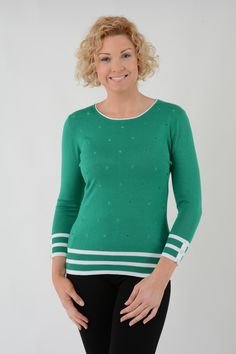 Women Embroidered Spot Jumper With Contrast Stripes