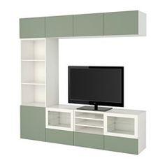 BESTÅ TV storage combination/glass doors - Lappviken green/Sindvik white clear glass, drawer runner, soft-closing - IKEA