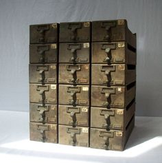 Vintage Library Card Catalogue Drawers with Label Hardware / Wood / Distressed. $435.00, via Etsy.