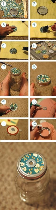 Nice graphic that shows you how to glam up a mason jar lid