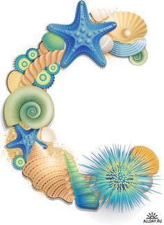 Алфавит: Ракушки голубые (прозрачный фон)      Alphabet: Shells blue (transparent background)