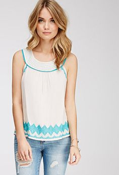 Embroidered Sleeveless Woven Top | FOREVER21 - 2000061960