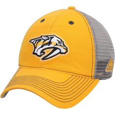 42a78707e6b Men s Nashville Predators adidas Gold Gray Slouch Mesh Back Flex Hat