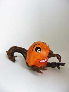 Pumpkin Stem Goblin Halloween Folk Art Doll by seasonsart1031