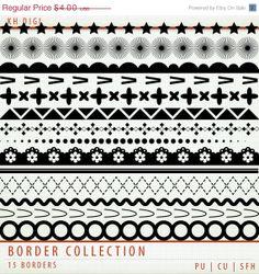 50 OFF SALE Border Collection  15 Digital Borders   Clip by KHDigi, $2.00