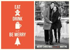 holiday photo cards - Eat, Drink & Be Merry by Five Sparrows