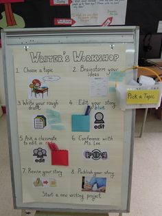 Our Writer's Workshop Station all in one Kindergarten Anchor Charts, Kindergarten Writing, Writing Activities, Writing Ideas, Teachers Corner, Reading Lessons, Writer Workshop, Lesson Planning, Center Ideas